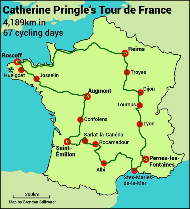 Map showing Catherine Pringle's Tour de France